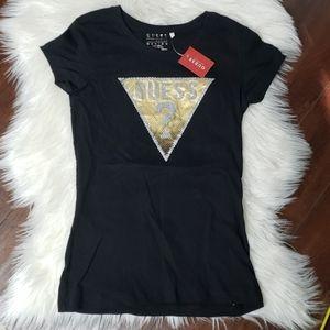 Guess gold logo crew neck t-shirt